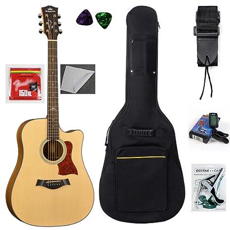 kepma D2 C Cutaway Guitarra Acústica Paquete con bolsa de ...