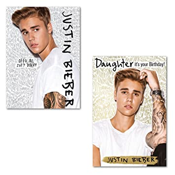 Justin Bieber 2017 Diary With Daughter Birthday Card Amazoncouk Toys Games