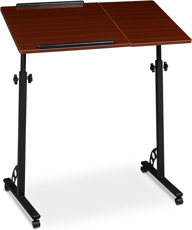 Relaxdays Mesa para Ordenador port/átil Altura Regulable, Plegable, Superficie de Trabajo inclinable, Tablero DM, 44 x 73 x 34,5 cm Color Gris 1 Unidad