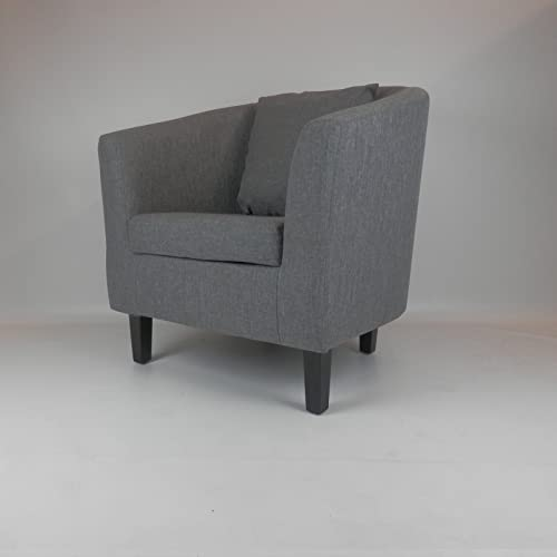 Dirty Pro Tools Linen Fabric Tub Chair CUSHION Armchair Living Room Dining  Office Reception (Grey