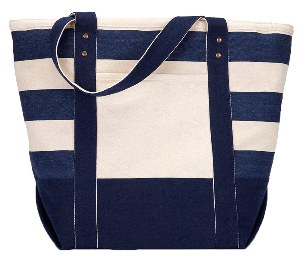 Gemline Seaside Zippered Cotton Tote, Navy/Blue Stripe, One Size