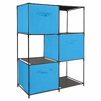 URBN LIVING ® Estantería con 6 Cubos y 6 Cajas de Almacenamiento de Tela Azul Turquesa: Amazon.es: Hogar
