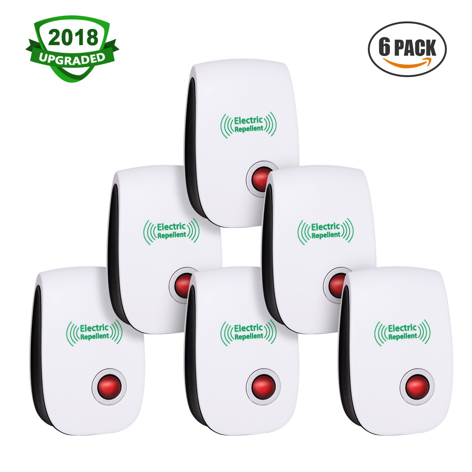 [2018 Upgraded] Ultrasonic Pest Repeller, Electrical Bug Repellent, Non-toxic Pest Repellent Plug in Indoor and Outdoor Pest Control for Mosquito Spider Ant Mice Roach and other Insect (6 packs)