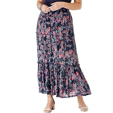 669baeca226eb1 Roamans Women s Plus Size Tiered Crinkle Skirt at Amazon Women s Clothing  store