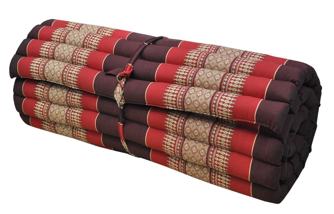 Thai mattress big size (75/180), burgundy/red, relaxation, beach cushion, pool, meditation, yoga (82314)