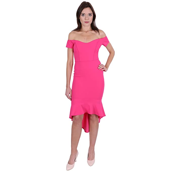 ASOS - John Zack - Vestido rosa neón, hombros descubiertos - 40