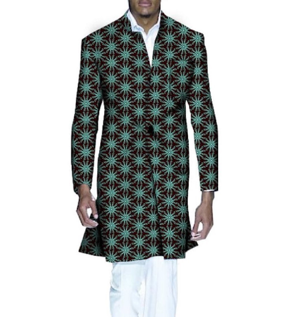 Highisa Men's Africa Wrap Jacket Dashiki Printing Floral Vogue Trench Coat 8 XL