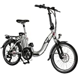 "AsVIVA E-Bike Elektro Faltrad B13 silber mit 36V 15,6Ah Samsung Akku, extrem kompakt | 20"" Klapprad mit 7 Gang Shimano Kettenschaltung, Scheibenbremsen LED Beleuchtung | Elektrofahrrad"
