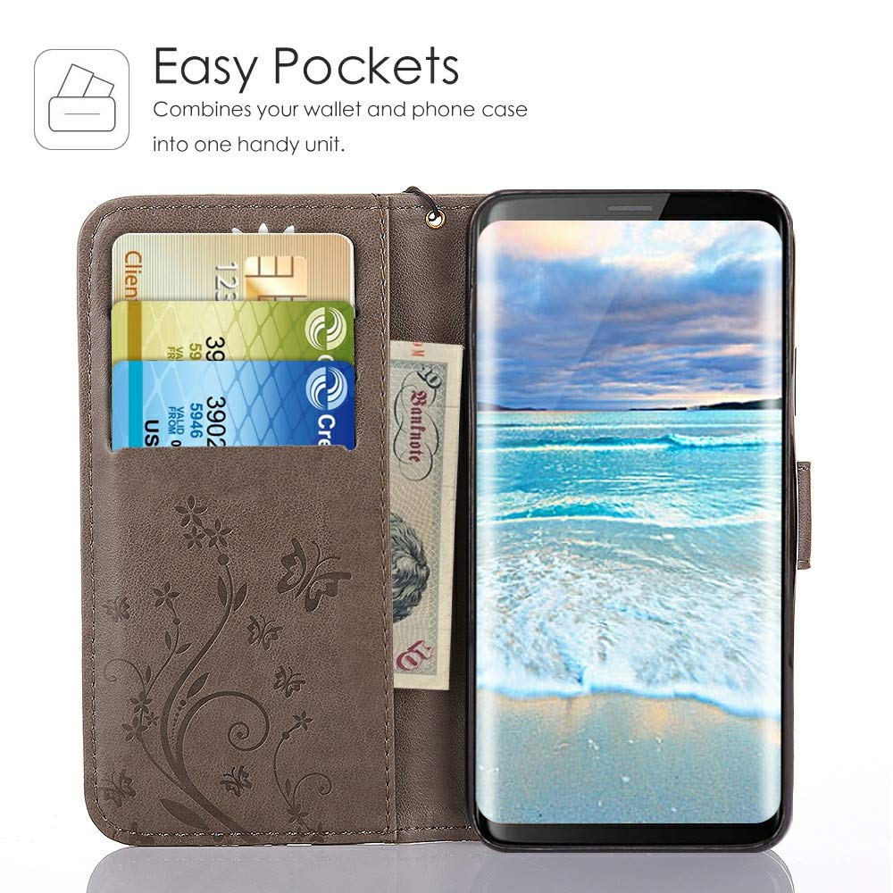 CLM-Tech Samsung Galaxy S9 Wallet Case Phone Synthetic Leather Cover Cat pajamas black Flip Case for Samsung Galaxy S9