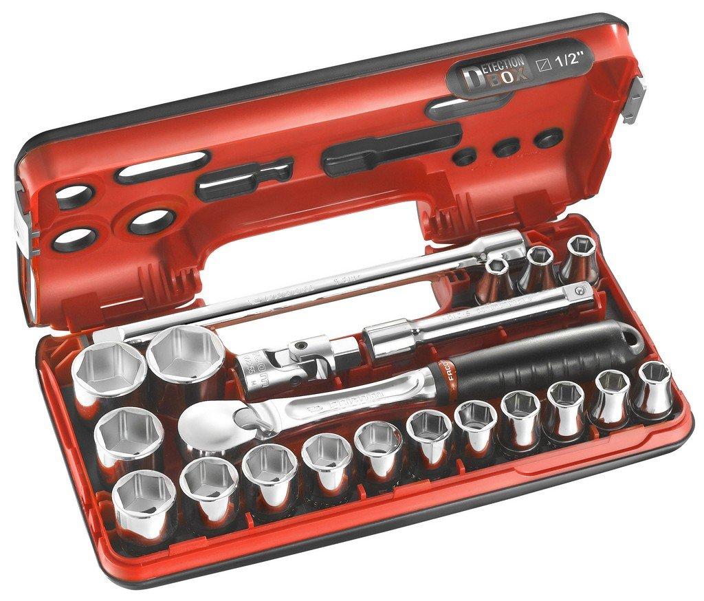FACOM Werkzeugsortiment1/2 Zoll, im Kompakten Kasten, 6 Kant Steckschlüssel, 21 Teilig, 1 Stück, SL.DBOX1