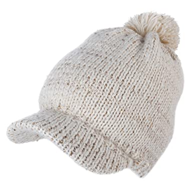 5648f452ec5 SIGGI Acrylic Knitted Newsboy Cap Beanies Visor Bill Cold Weather Winter  Hat Ladies Beret Pom Beige