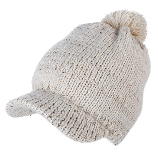 d73957fc1a Jeff & Aimy Women's Acrylic Knit Visor Beanie Winter Newsboy Cap Fleece  Lined