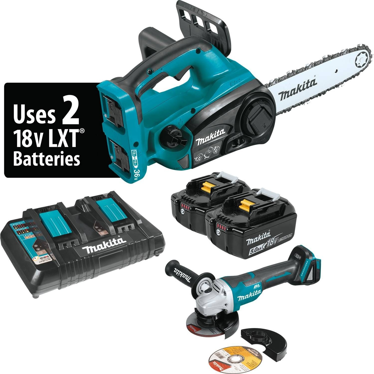 Makita XCU02PTX1 18V X2 (36V) LXT Lithium-Ion Cordless 12'' Chain Saw Kit and Brushless Angle Grinder (5.0 Ah)