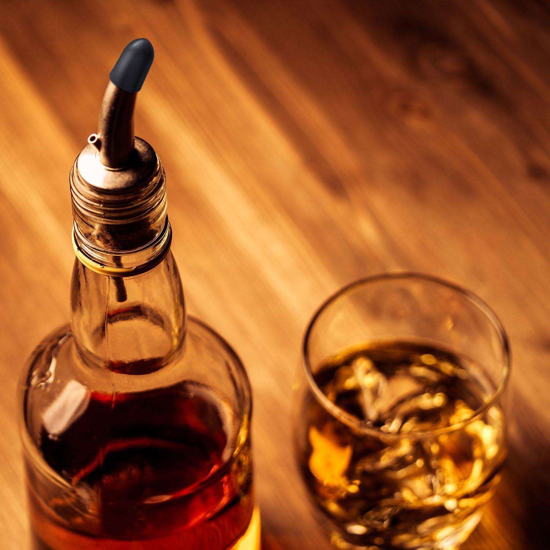 Spout Covers 150 Pack Liquor Bottle Covers Spot Pourers- Black Bottle Caps