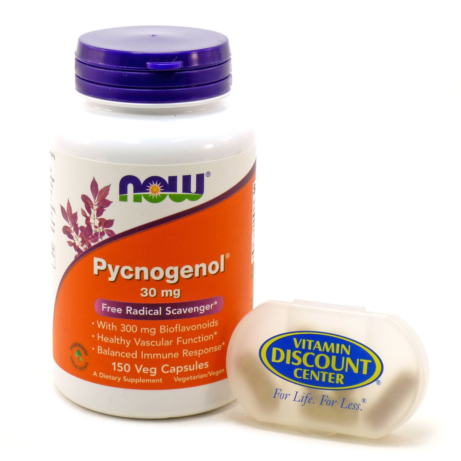Bundle - 2 Items : 1 Bottle of Pycnogenol 30 mg by Now Foods - 150 Capsules and 1 VDC Pill Box