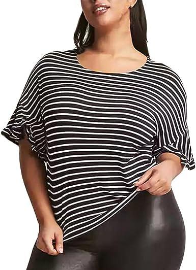 Familizo Camisetas Mujer Manga Corta Rayas Camisetas Mujer Tallas Grandes Camisetas Mujer Verano Blusa Mujer Sport Tops Mujer Verano Camiseta Amazon Es Ropa Y Accesorios
