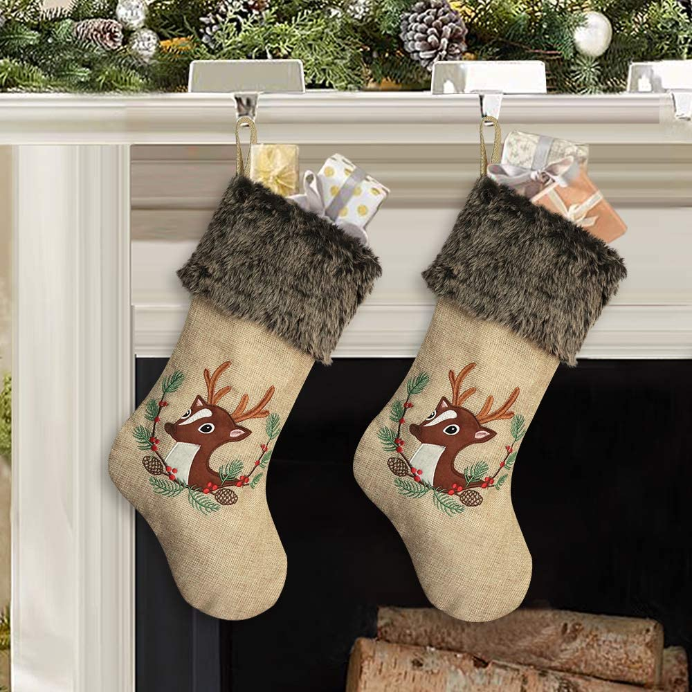 Ivenf Christmas Stockings, 2 Pcs 18 inches Large Burlap Embroidered Reindeer with Plush Faux Fur Cuff Stockings, for Family Holiday Xmas Party Decorations