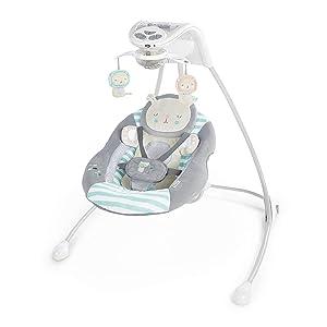Ingenuity Inlighten Cradling Swing - Landry Lion - Foldable Plug-in Swing