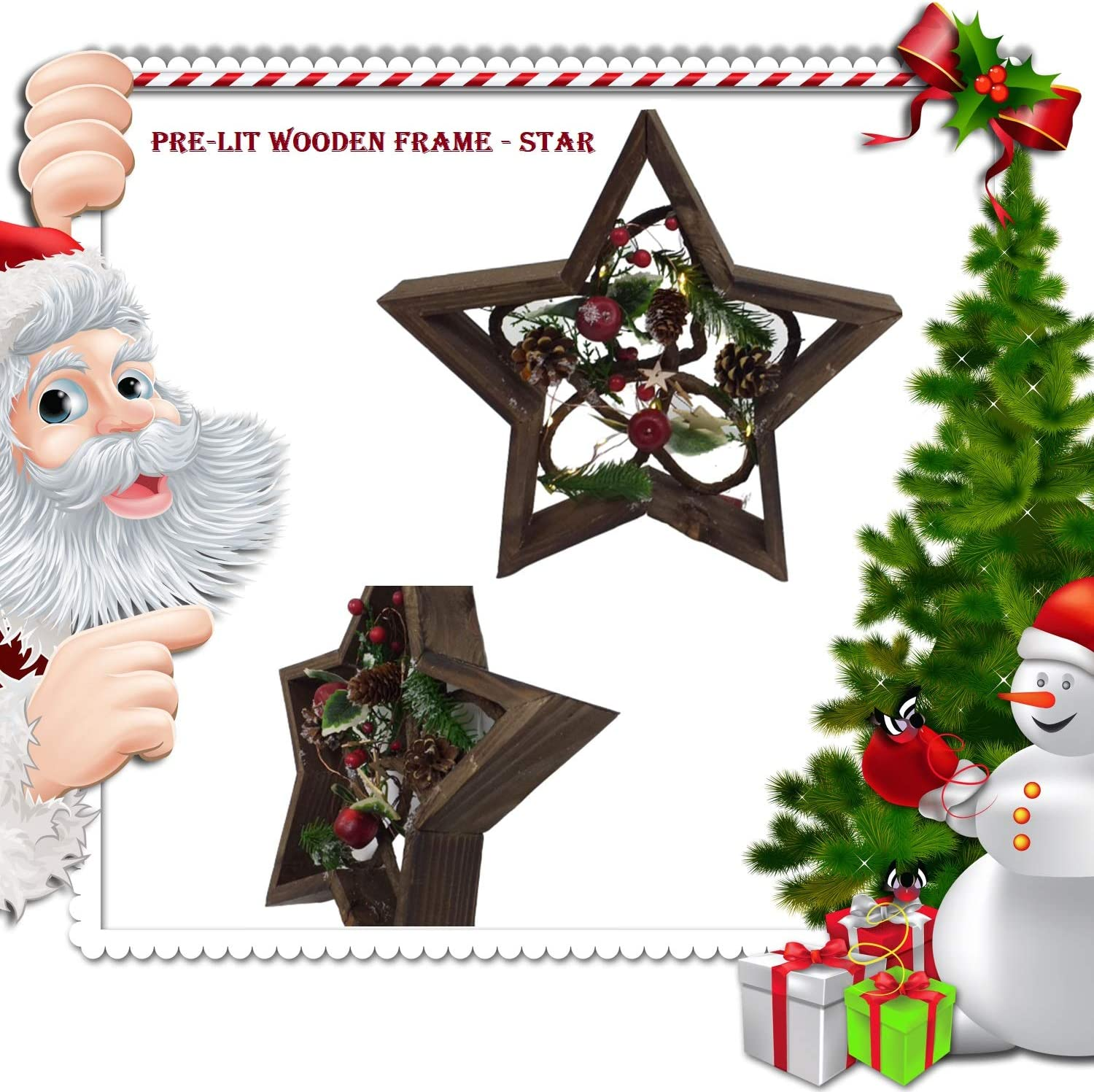 32cm LED Pre-Lit Decorated with Leaves Pine Cones Berries 3D Nordic Christmas Scene Star Shape Wooden Frame Tabletop Decorations Xmas Ornament Gifts