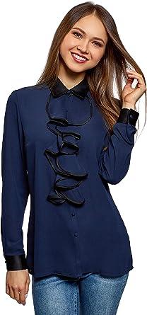 oodji Collection Mujer Blusa con Cuello Escarolado y Acabado en Contraste