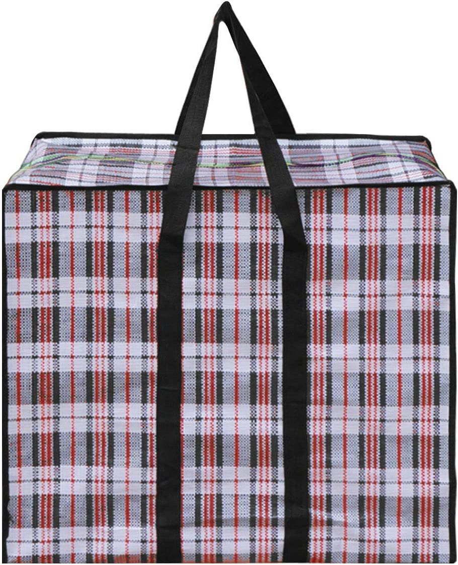 CLARA Large Checkered Storage Bag Oversized Waterproof Moving Totes Carrying Bag Luggage Bag Reusable Laundry Bag(Black, 24×24'')
