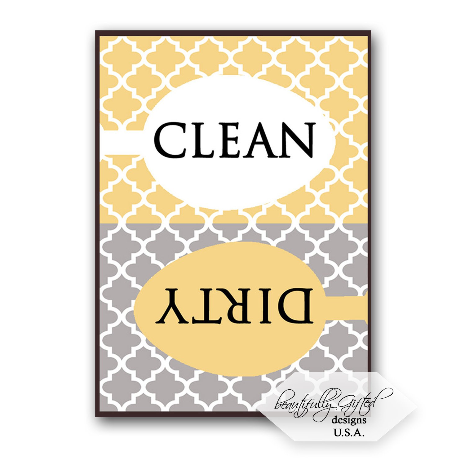Clean Dirty Dishwasher Magnet Sign - Elegant Moroccan Trellis Pattern - Grey/Yellow Gold- 2.5 x 3.5 - Housewarming, Mother's Father's Day or Gag Gift Idea/Stocking Stuffers for Men Women Teens