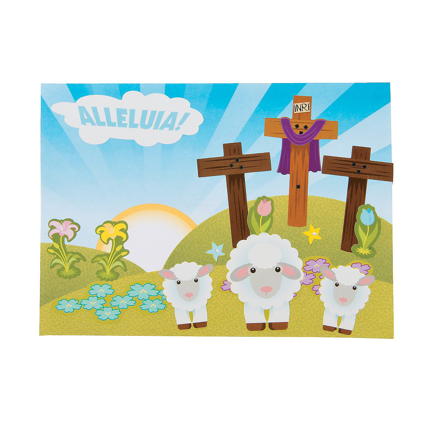 Make - Easter 12 Pieces Stickers Sm Alleluia Mini Sticker Scene for Easter Scene Stationery A Fun Express