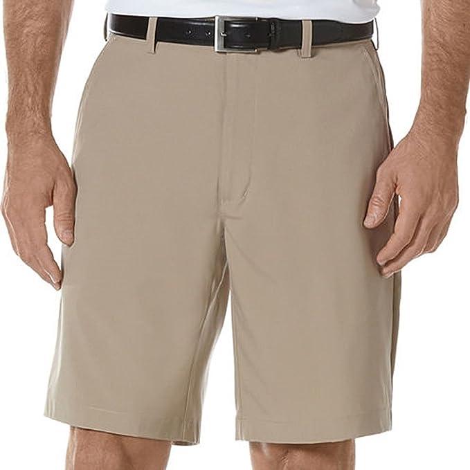 PGA Tour Men's Flat Front Expandable Waist Golf Shorts (38, Khaki)