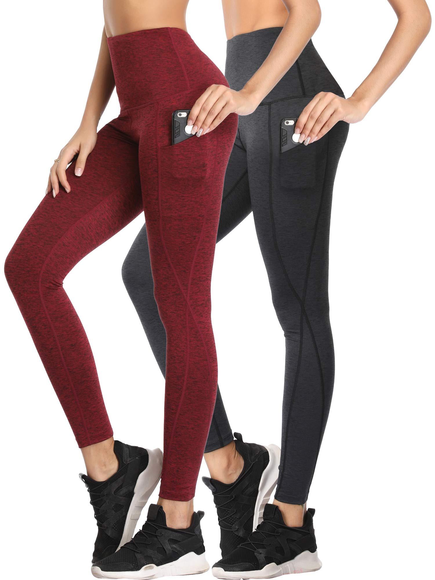 Cadmus Womens Tummy Control Running Leggings for Yoga,1102,Dark Grey & Red,Small