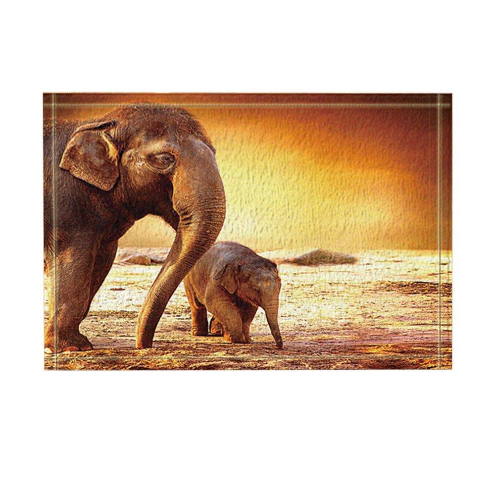 KOTOM Safari African Animals Decor, Wild Mother Elephant and Baby Walking Bath Rugs, Non-Slip Doormat Floor Entryways Indoor Front Door Mat, Kids Bath Mat, 15.7x23.6in, Bathroom Accessories