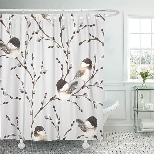 Beautiful Bird In Branch Decor Bathroom ShowerCurtainFabric/&12Hook71 Inch