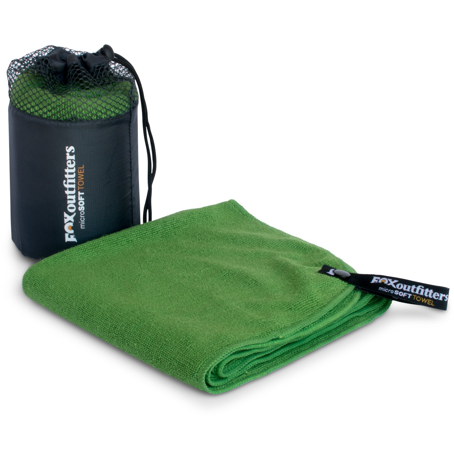 Fox Outfitters MicroSoft Towel Hiking Lightweight /& Great for Backpacking Ultra Compact Soft Dry Microfiber Camping /& Travel Towel with Hang Loop Snap Sports. Green - Small