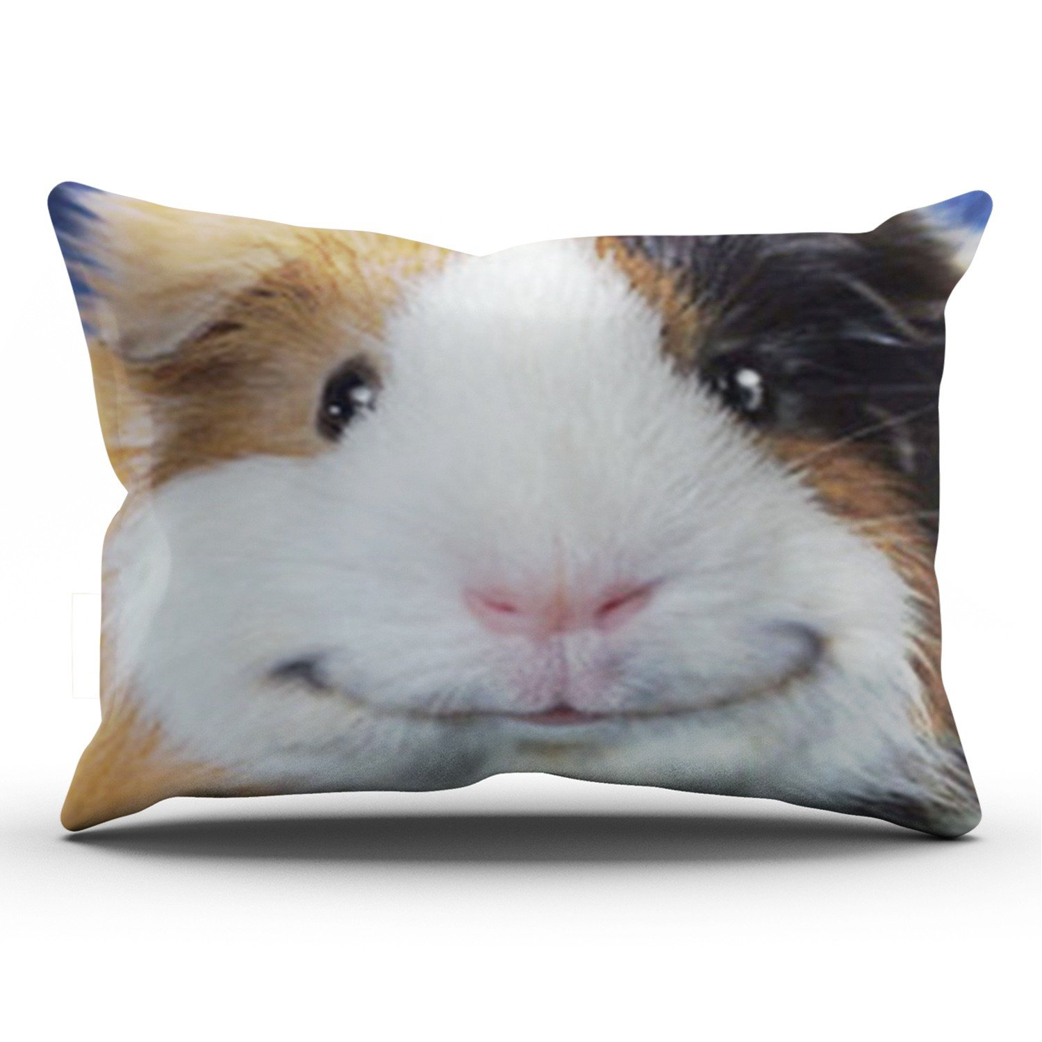 KEIBIKE Personalized Animal Pattern Funny Smiling Guinea Pig Rectangle Decorative Pillowcases Colorful Zippered King Pillow Covers Cases 20x36 Inches One Sided