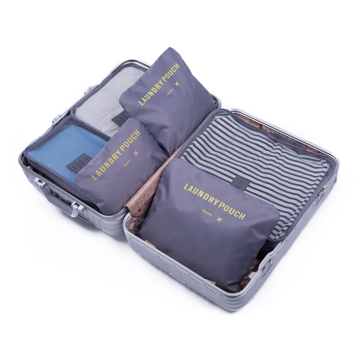 7 Sets Packing Cubes Travel Luggage Organizers- Different Extensible Compression Storage Accessories for Traveling, Camping and Weekender