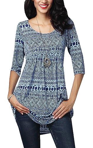 Gemijack Women's Geometric Print Pintuck Tunic 3/4 Sleeve Blouse Shirt Tops
