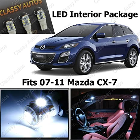 Classy Autos White LED Lights Interior Package Deal Mazda CX-7 (6 Pieces)