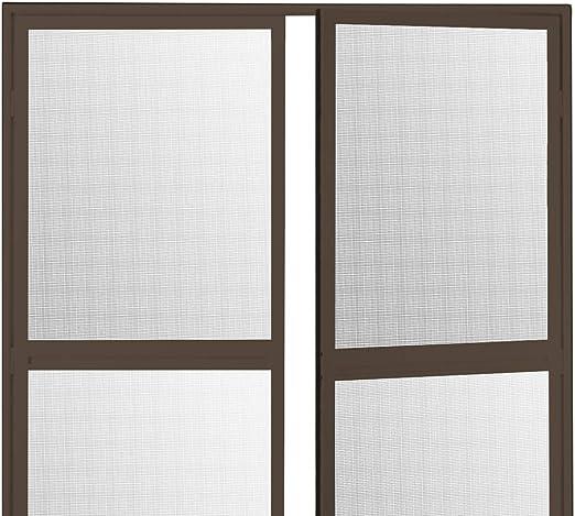 Duo Pro - Mosquitera con bisagras para puerta abatible, aluminio, 200 x 240 cm, lona antipolen, protección contra insectos, antimoscas, marco de aluminio, lona de fibra de vidrio, Estados Unidos, marrón: Amazon.es: