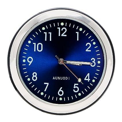 Reloj de coche luminoso con clip de rejilla de ventilación, puntero digital, color azul