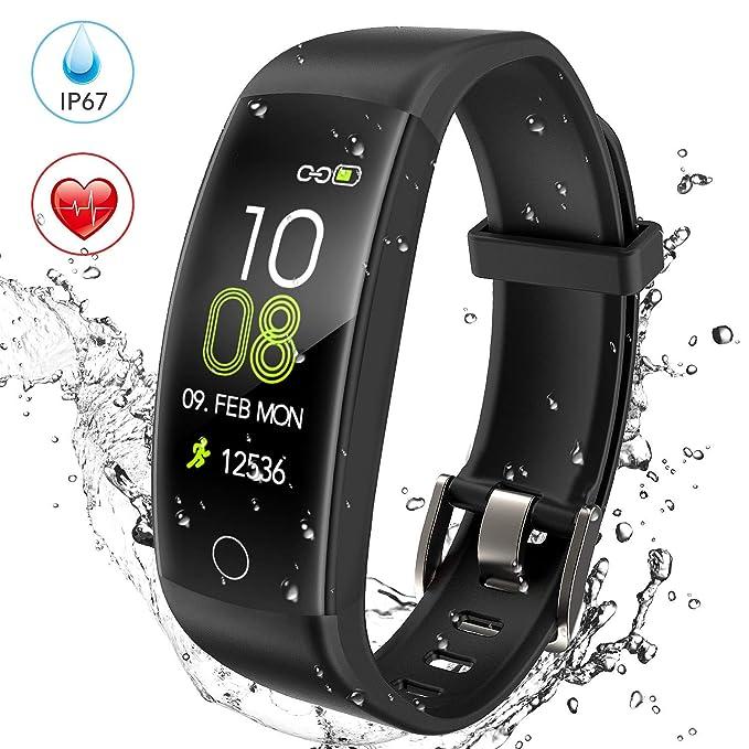 AGPTEK Pulsera de Actividad Inteligente Impermeable IP67 para Hombre y Mujer, C30 Reloj Deportivo con GPS, Monitor de Ritmo Cardíaco, Calorías y ...
