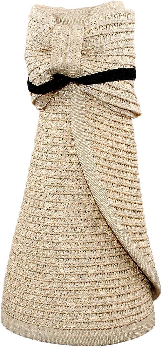Sombrero Viseras Mujer Verano de Paja Vac/ío con ala Grande Gorra Pamela de Sol Playa Viaje Vacaciones Adjustable Modelo YY-9