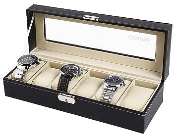 Ohuhu® de Cuero 6 Ranura Caja de Reloj con el Bloqueo del Metal: Amazon.es: Hogar