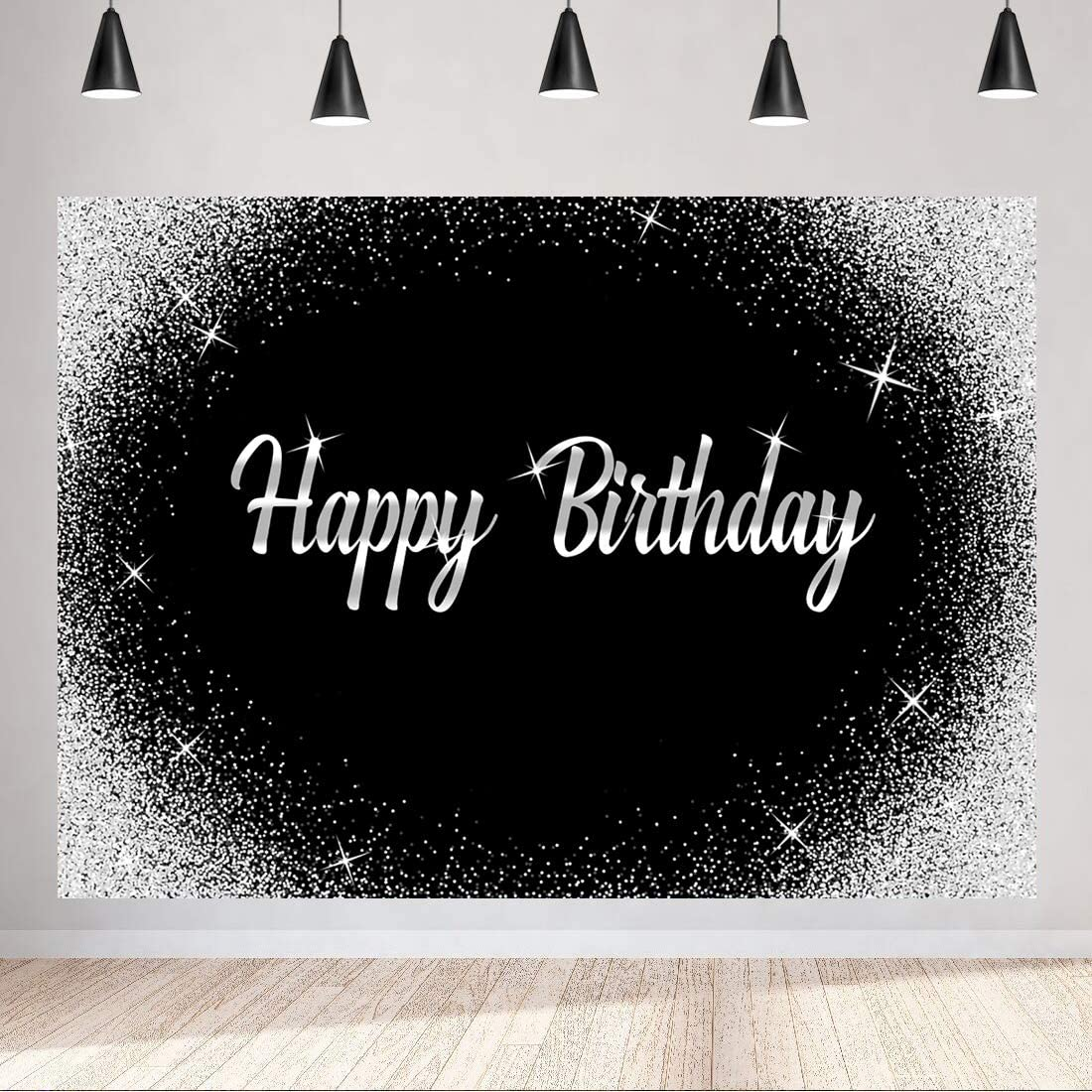 Aperturee Happy Birthday Backdrop 7x5ft Glitter Silver Dots and Black Photography Background Men Women Party Decorations Banner Photo Studio Booth Kids Cake Table Banner