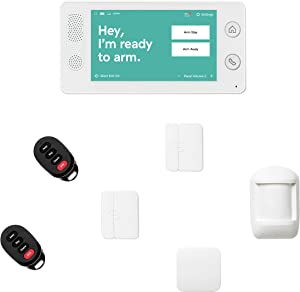 Cove 7 Piece Wireless Home Security System with 24/7 Professional Monitoring Trial, No Contracts — Touch Screen Panel, Door/Window Sensors, Motion Sensor, Flood Sensor, Key Remotes