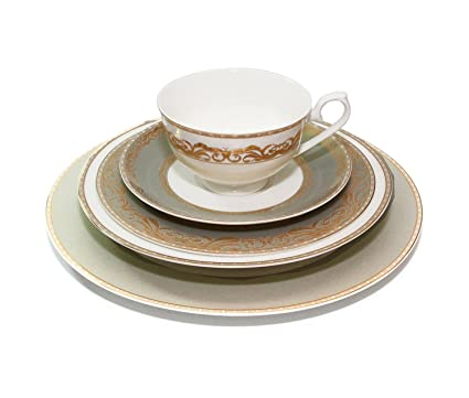 Royalty Porcelain u0026quot;Bellau0026quot; 5-Piece White and Gold Dinnerware Set 24K  sc 1 st  Amazon.com : gold plated china dinnerware - pezcame.com