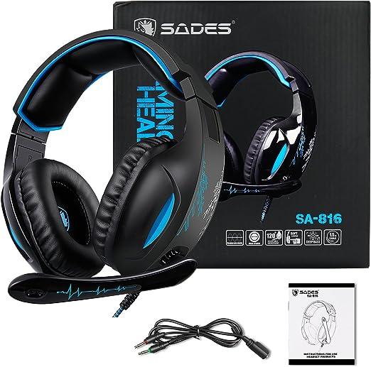 Gaming Headset Para PS4 New Xbox One PC Controlador, Sades SA816 Over-Ear Surround Sonido Auriculares Pro Gaming Auriculares con micrófono Volumen 3.5 mm Negro Azul: Amazon.es: Videojuegos