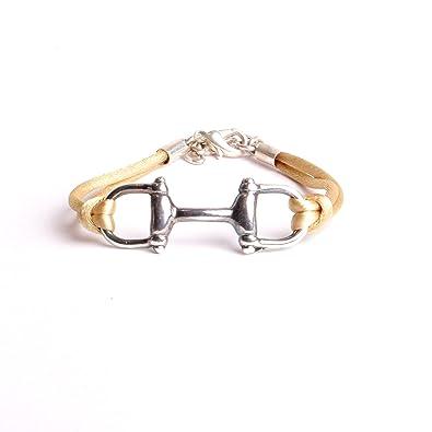 100% authentique nuances de chaussure Bracelets équestres mors à cheval bijoux créateurs mode équitation fait à  la main : atelier bijouterie By Mode France.