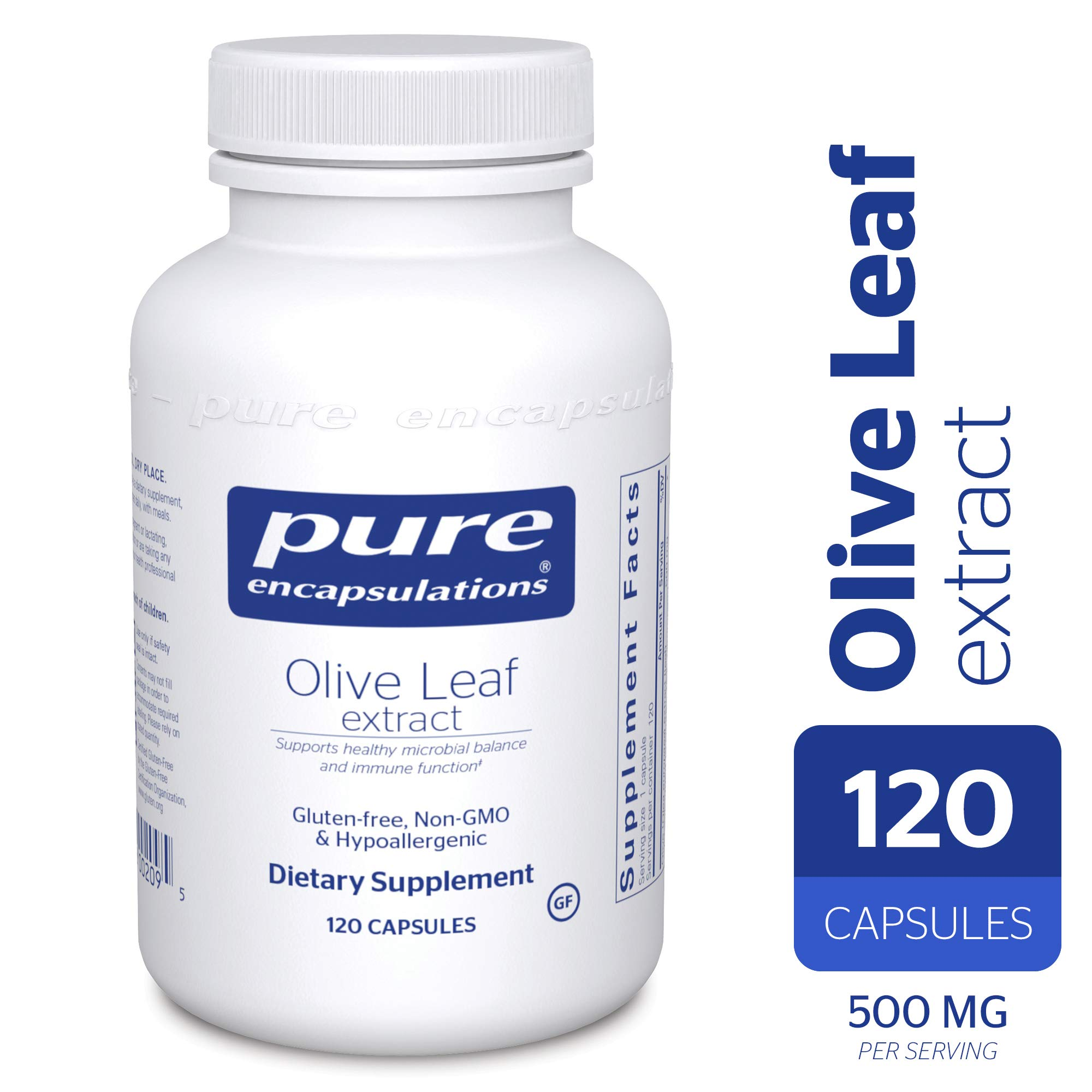 Pure Encapsulations - Olive Leaf Extract - Hypoallergenic Supplement Supports Immune System and Healthy Intestinal Environment* - 120 Capsules