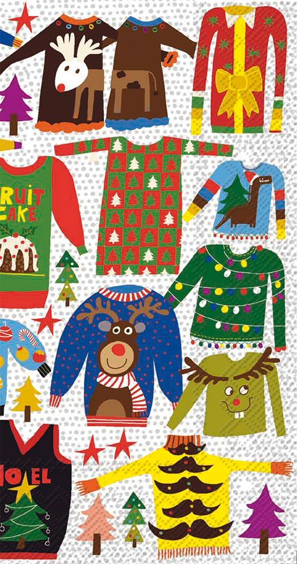 Ideal Home Range 16-Count Ugly Christmas Sweater Paper Guest Towel Napkins