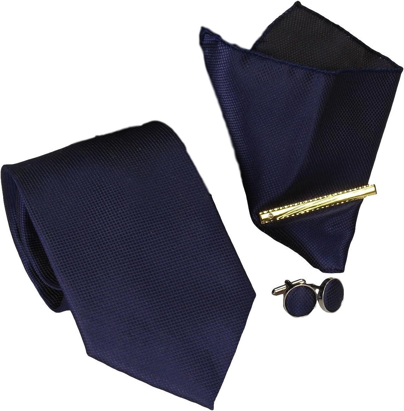 100/% seta Set cravatte da uomo in scatola borchie fazzoletto 8,5/cm