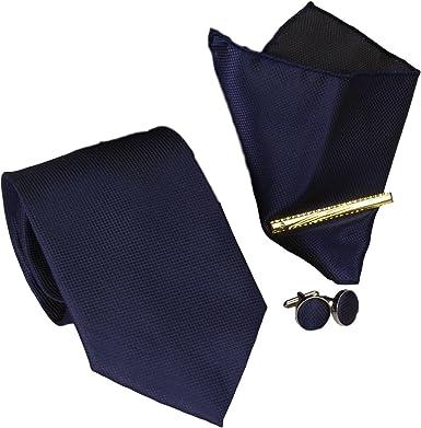 Corbatas Set 4 8,5cm Corbata + Pañuelo + Gemelos + Alfiler de ...